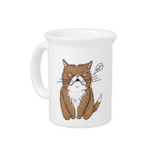 Jarra Para Bebidas Dibujo gruñón divertido del gato de Meh