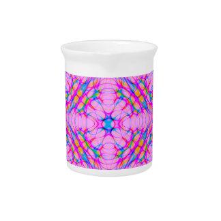 Jarra Para Bebidas Extracto del modelo del caleidoscopio del rosa en