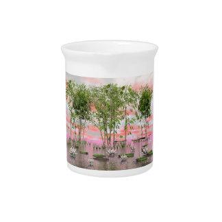 Jarra Para Bebidas Flores y bambúes de Lotus - 3D rinden