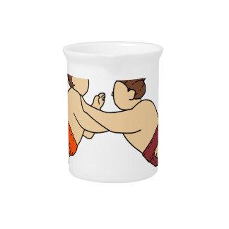 Jarra Para Bebidas Luchador del sumo de Rikishi que empuja la mono