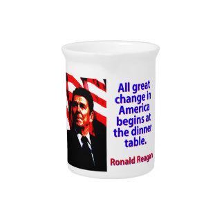 Jarra Todo el gran cambio en América - Ronald Reagan
