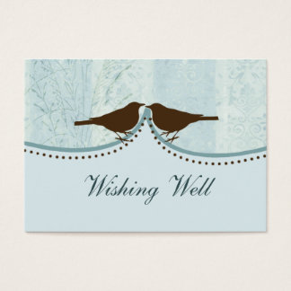 jaula de pájaros azul, pájaros del amor que desean tarjeta de negocios