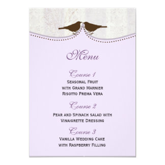Jaula de pájaros púrpura elegante, tarjetas del comunicado