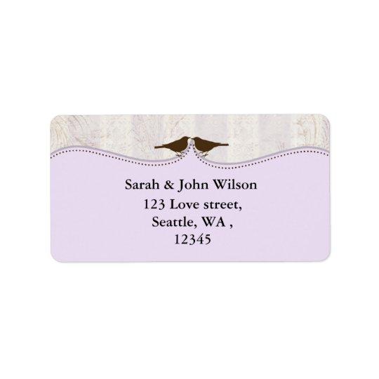 jaula de pájaros púrpura, etiquetas del remite de etiqueta de dirección