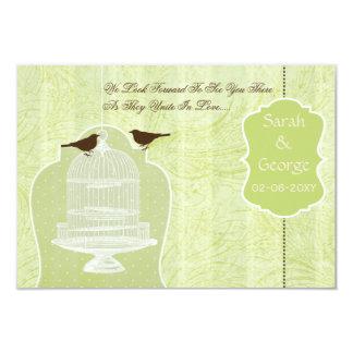 Jaula de pájaros verde elegante, pájaros RSVP 3,5 Invitación 8,9 X 12,7 Cm