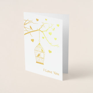 Jaula de pájaros y tarjeta del día de San Valentín