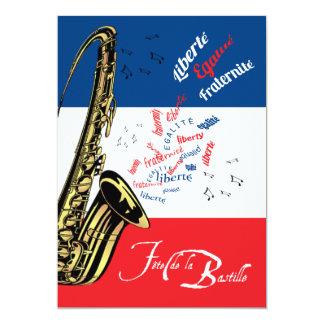 Jazz Bastille día invitación del 14 de julio Invitación 12,7 X 17,8 Cm