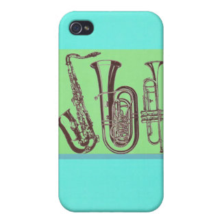 Jazz_Sax_Tuba_Trumpet iPhone 4 Funda