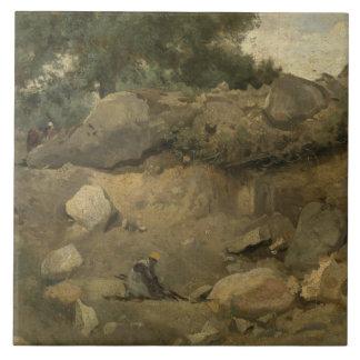 Jean-Baptiste-Camilo Corot - mina de piedra Azulejo