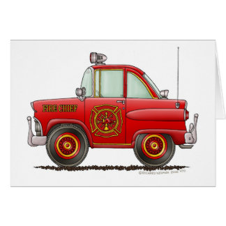 Jefe de bomberos del coche del bombero del bombero tarjeta de felicitación