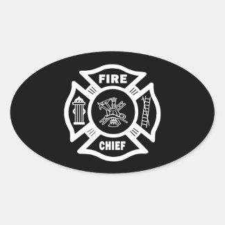 Jefe de bomberos pegatina ovalada