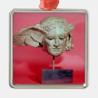 Jefe de Hypnos, copia de una original helenística Adorno Navideño Cuadrado De Metal