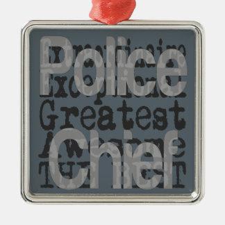 Jefe de policía Extraordinaire Adorno Navideño Cuadrado De Metal