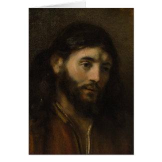 Jefe de Rembrandt de los retratos de Cristo CC0924 Tarjeta De Felicitación
