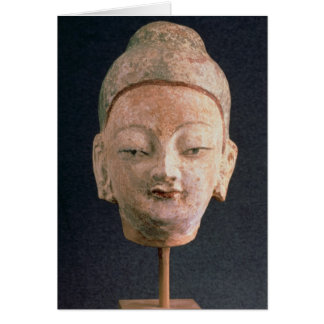 Jefe de una estatua de Buda, de Bezeklik Tarjeta De Felicitación