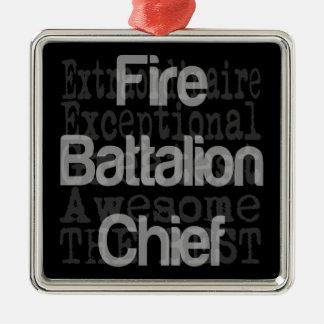 Jefe del batallón del fuego Extraordinaire Adorno Navideño Cuadrado De Metal