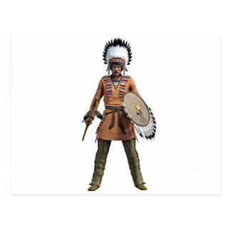 Jefe del guerrero de Cheyenne que coloca su tierra Postal