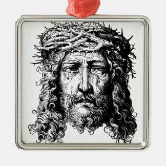 Jefe del Jesucristo Adorno Navideño Cuadrado De Metal