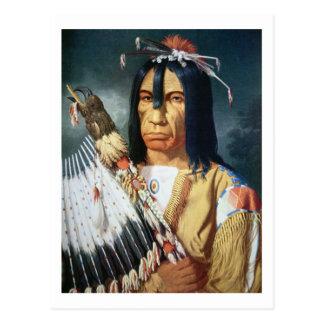 Jefe del nativo americano de la población del Cree Postal