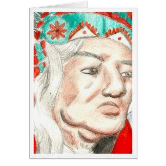 Jefe del nativo americano tarjeta de felicitación