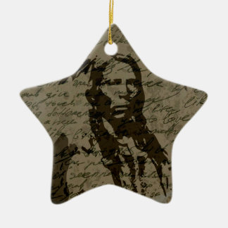 Jefe indio adorno navideño de cerámica en forma de estrella