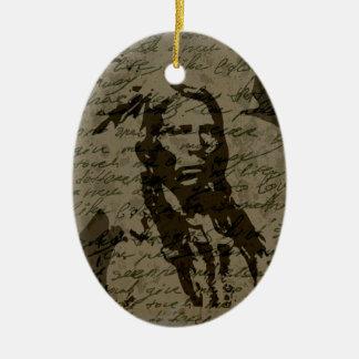 Jefe indio adorno navideño ovalado de cerámica