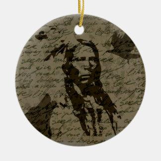Jefe indio adorno navideño redondo de cerámica