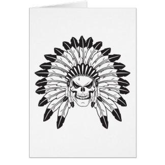 Jefe indio del cráneo tarjeta de felicitación