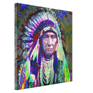 Jefe indio del nativo americano impresiones en lona