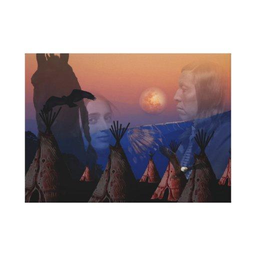 Jefe indio del nativo americano impresiones en lona estiradas