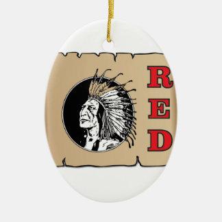 jefe rojo grande adorno navideño ovalado de cerámica