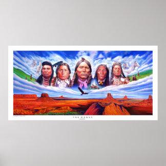 jefes indios del nativo americano por hizli serdar póster