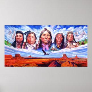 jefes indios del nativo americano póster