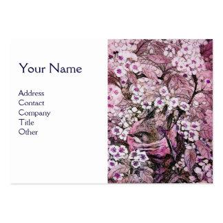 JERARQUÍA del PÁJARO, monograma, blanco rosado Tarjetas De Visita Grandes