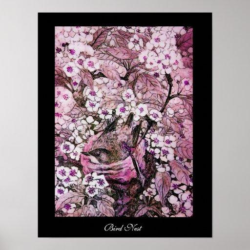 JERARQUÍA del PÁJARO, negro violeta rosado rojo bl Impresiones