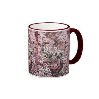 JERARQUÍA del PÁJARO, rosa rojo blanco Taza A Dos Colores