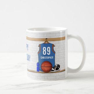 Jersey anaranjado azul claro personalizado del taza