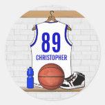 Jersey azul blanco personalizado del baloncesto etiqueta