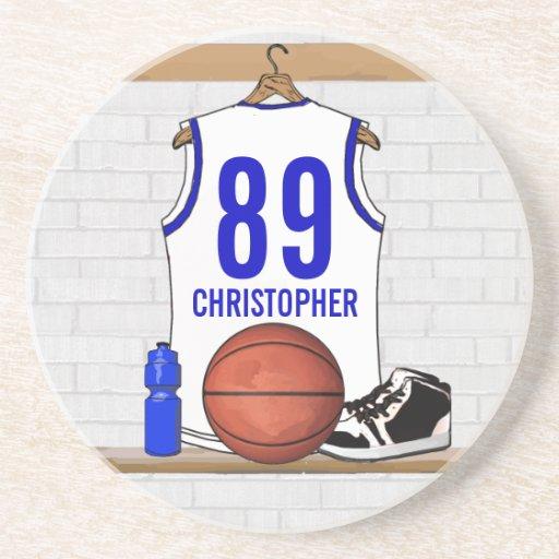 Jersey azul blanco personalizado del baloncesto posavasos cerveza