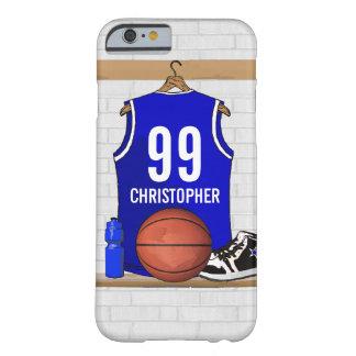 Jersey azul personalizado del baloncesto funda de iPhone 6 barely there