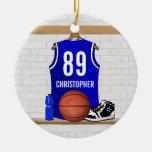 Jersey azul y blanco personalizado del baloncesto ornamentos para reyes magos
