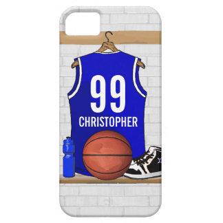 Jersey azul y blanco personalizado del baloncesto funda para iPhone SE/5/5s