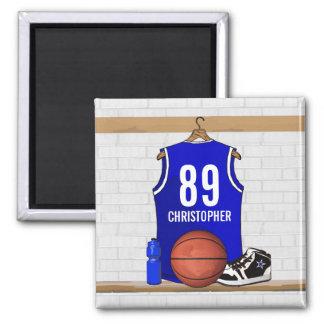 Jersey azul y blanco personalizado del baloncesto imán