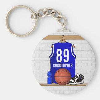 Jersey azul y blanco personalizado del baloncesto llavero redondo tipo chapa