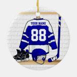 Jersey azul y blanco personalizado del hockey ornamentos de reyes