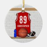 Jersey blanco rojo personalizado del baloncesto ornamentos de navidad