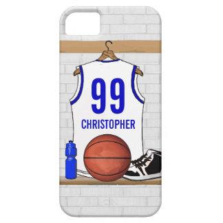 Jersey blanco y azul personalizado del baloncesto iPhone 5 cárcasa