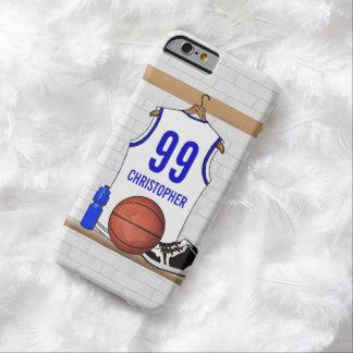 Jersey blanco y azul personalizado del baloncesto funda de iPhone 6 barely there