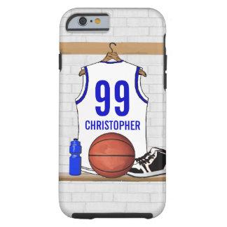 Jersey blanco y azul personalizado del baloncesto funda de iPhone 6 tough