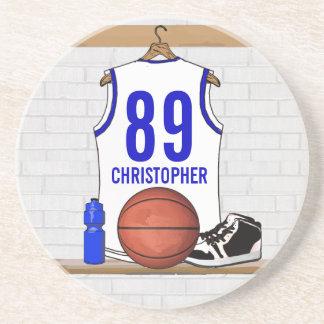 Jersey blanco y azul personalizado del baloncesto posavasos cerveza